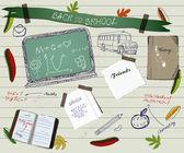 回学校剪贴 poster215 の垂直なビジネス カードのセット. — 图库矢量图片