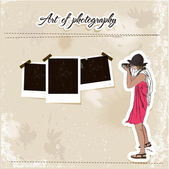 Scrap template with fashion photographer girl. — Stock Vector