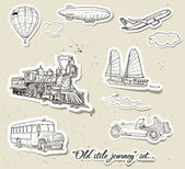 Vector set of vintage transport — Stock vektor