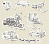 Vektor-satz von vintage-transport — Stockvektor