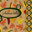 Autumn sale poster with seamless texture. — Stock Vector
