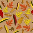 Stock Vector: Seamless texture with red&yellow leaves