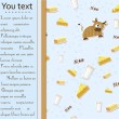Card with cow, milk, cheese and butter. - Imagens vectoriais em stock