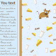 Card with cow, milk, cheese and butter. — Stockvectorbeeld