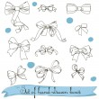 Stock Vector: Set of vintage colorless bows