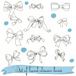 Set of vintage colorless bows — Stock Vector