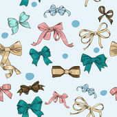Semless texture with vintage bows — Stockvector
