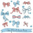 图库矢量图片: Set of vintage pink and blue bows