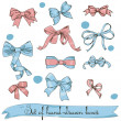 Stock Vector: Set of vintage pink and blue bows