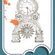 Grunge card with old clock — Imagen vectorial