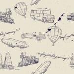 同组的复古运输无缝纹理 — 图库矢量图片