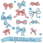 Set of vintage pink and blue bows — Vector de stock