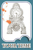 Grunge card with old clock — Stock Vector