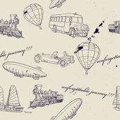 Textura sem emenda com conjunto de transporte vintage. — Vetorial Stock
