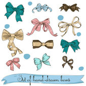 Set of vintage bows — Stock Vector