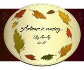 Vintage autumn label with cane. — Stock Vector