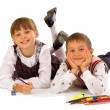 Stock Photo: Two kids drawing on the floor