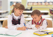 Learning process, cute kid ready for school's activities — Stock Photo