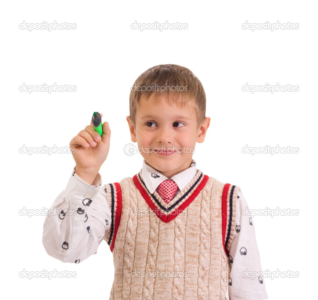 Adorable boy holding a pen, isolated on white background — Stock Photo #10816239