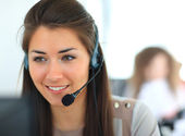 Female customer support operator — ストック写真