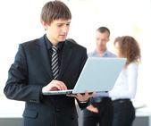 Business man using laptop — Stock Photo