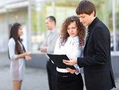 Szczesliwym biznesem pracy — Zdjęcie stockowe