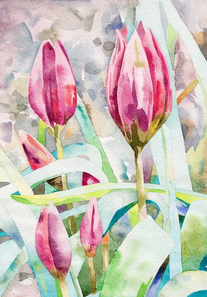 Original watercolor painting spring flower stock photo for Spring flowers watercolor
