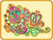 Original hand draw line art ornate flower design — Vecteur