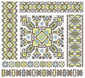 Handmade cross-stitch ethnic Ukraine pattern design — Stock Vector