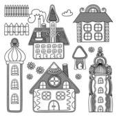 Decorative house drawing set — Vetor de Stock