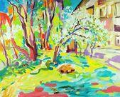 Original pintura al óleo del paisaje de verano — Foto de Stock