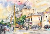 Original watercolor city landscape — Stock Photo