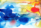 Original abstract watercolor background brush strokes — Stock Photo