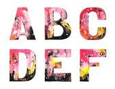 Conception de l'alphabet aquarelle à la main — Vecteur