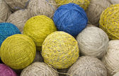 Balls of yarn from natural fibers of hemp — Stock Photo