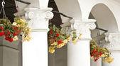 Gesso colonne e vasi di fiori arredamento città — Foto Stock