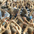 Crowd at a concert with hands up — Stock Photo #11301724