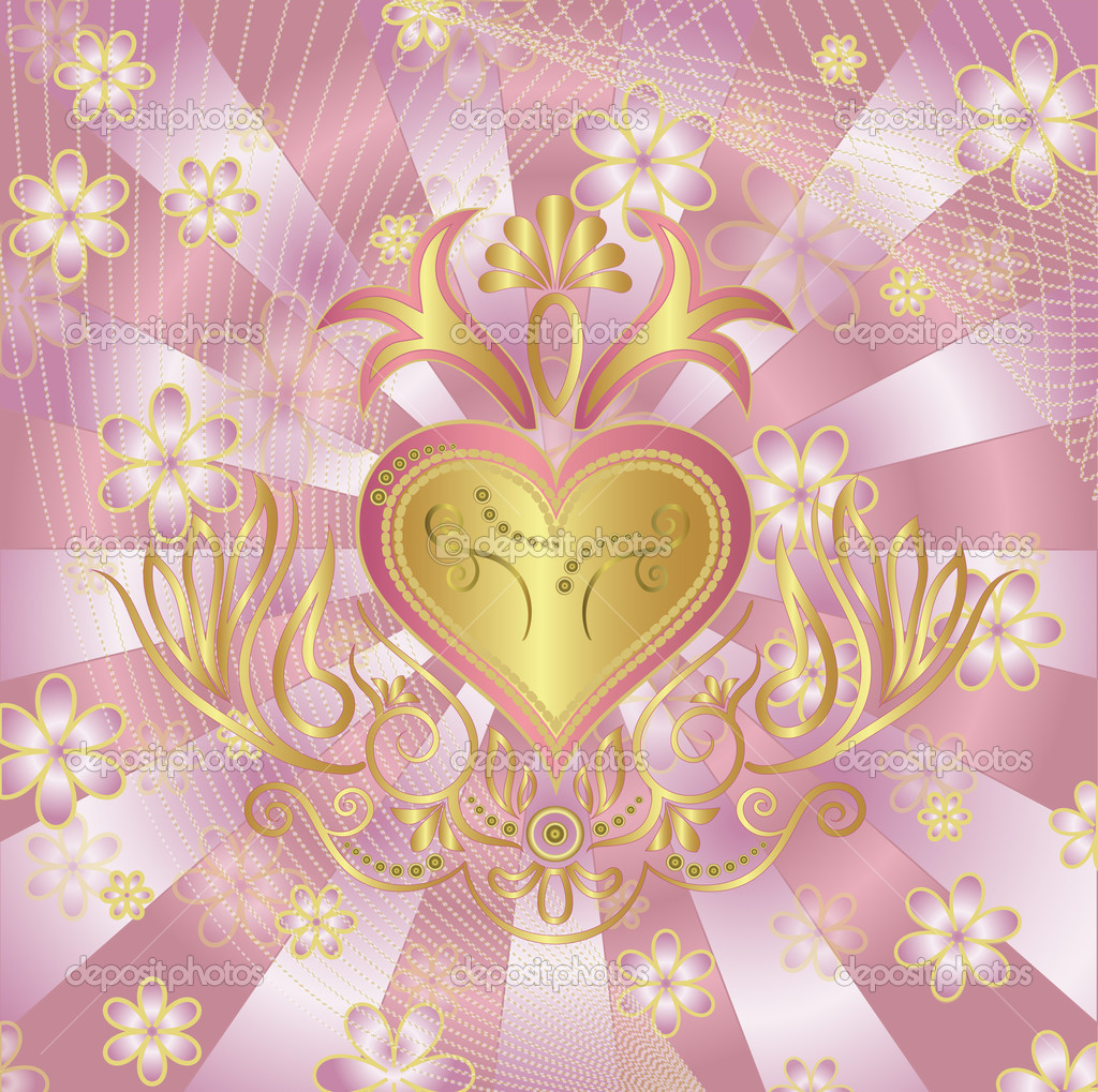 Background with heart and an ornament, vector Illustration — Stock Vector #11124854
