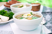 Green soup of sorrel soup in a cup — Stock Photo