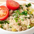 Oatmeal with vegetables for breakfast - Stock Photo
