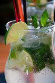 Mojito Cocktail on a wooden table — Stock Photo