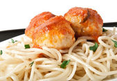 Spaghetti and meatballs — Stockfoto