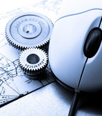 Mechanical ratchets, drafting and mouse — Stock Photo