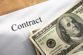 Contract conception with money — Stock Photo
