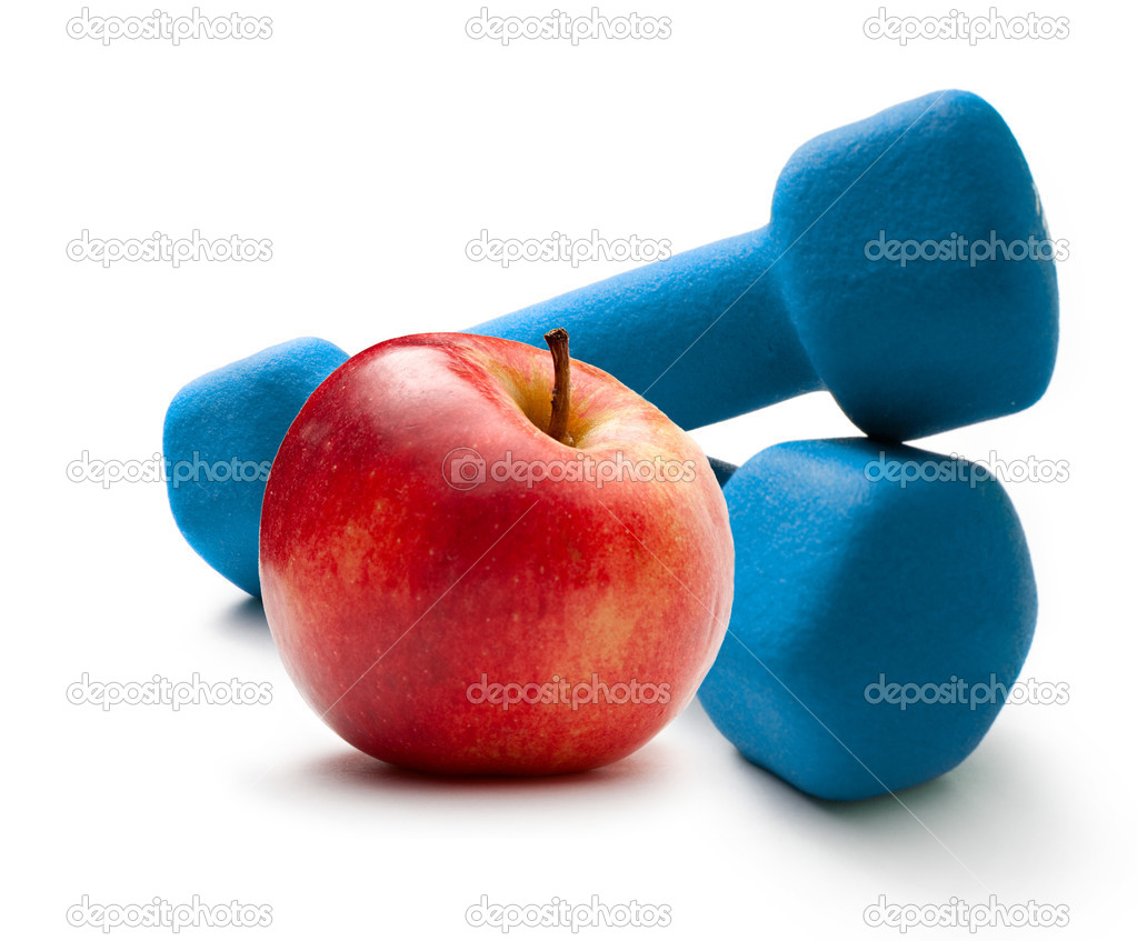 Blue dumbbells and red apple — Stock Photo #11053258