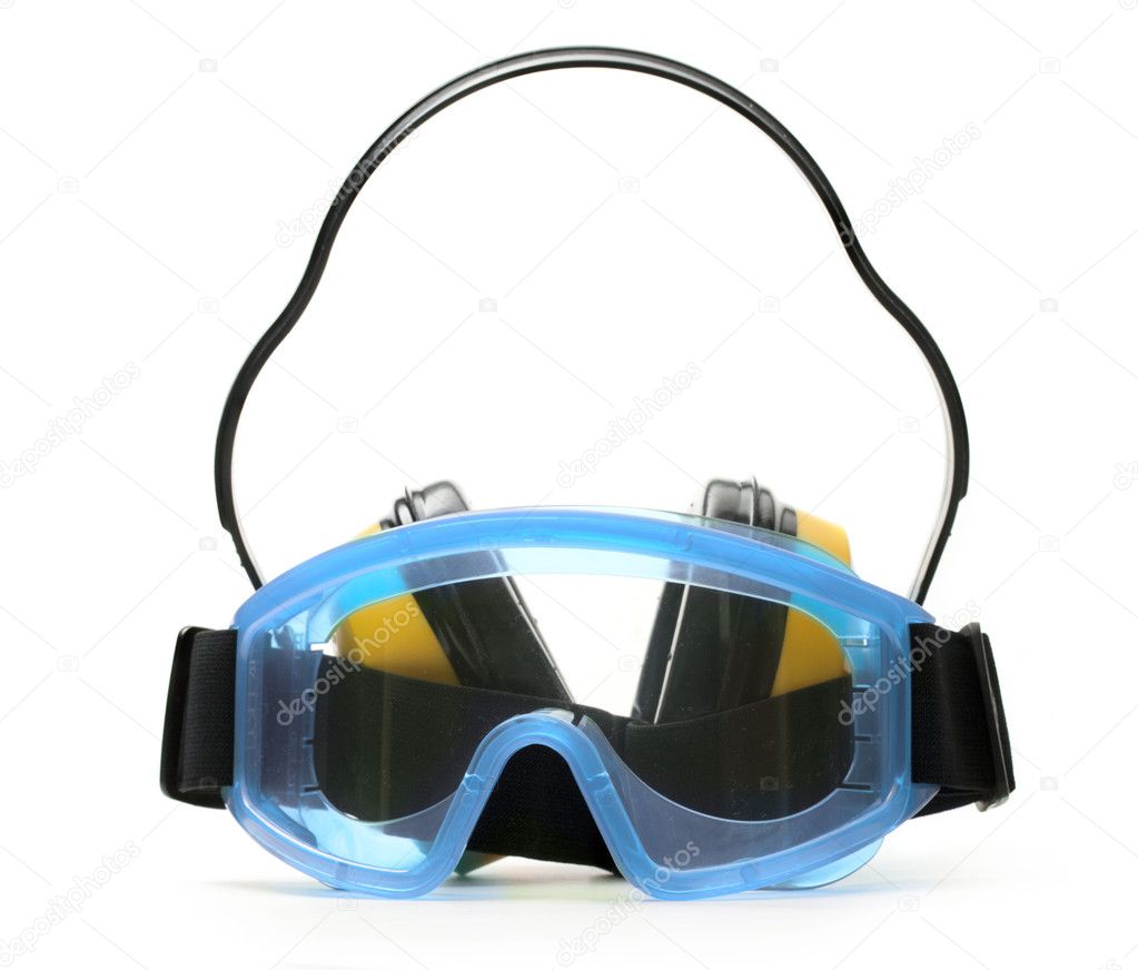 Blue goggles with earphones  Stock Photo #11190803