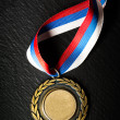 Metal medal with tricolor ribbon - Stok fotoğraf