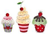 Satz von cupcake. wasserfarben auf papier — Stockfoto