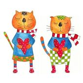 Couple of cats. Greeting card — 图库照片