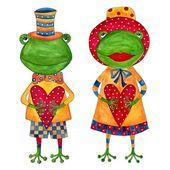 Casal de sapos. cartão de felicitações — Fotografia Stock